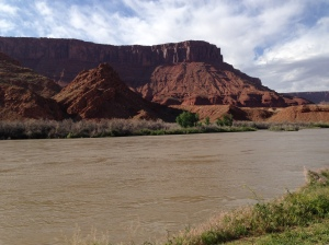 Mesa and Colorado River behind Sorrel River Ranch in Moab, UT