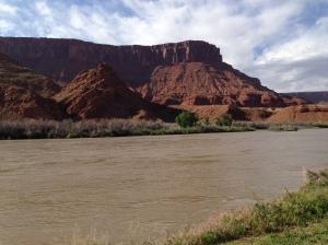 Mesa and Colorado River behind Sorrel River Ranch in Moab, UT