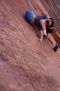 J-man climbing Ice Cream Parlor in Moab, UT